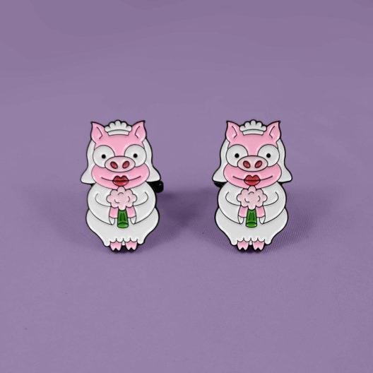 Simpsons Bride and Bride Soft Enamel Piggy Cufflinks